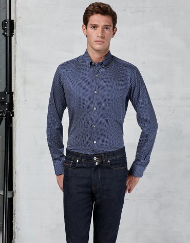 Navy blue shirt with dots