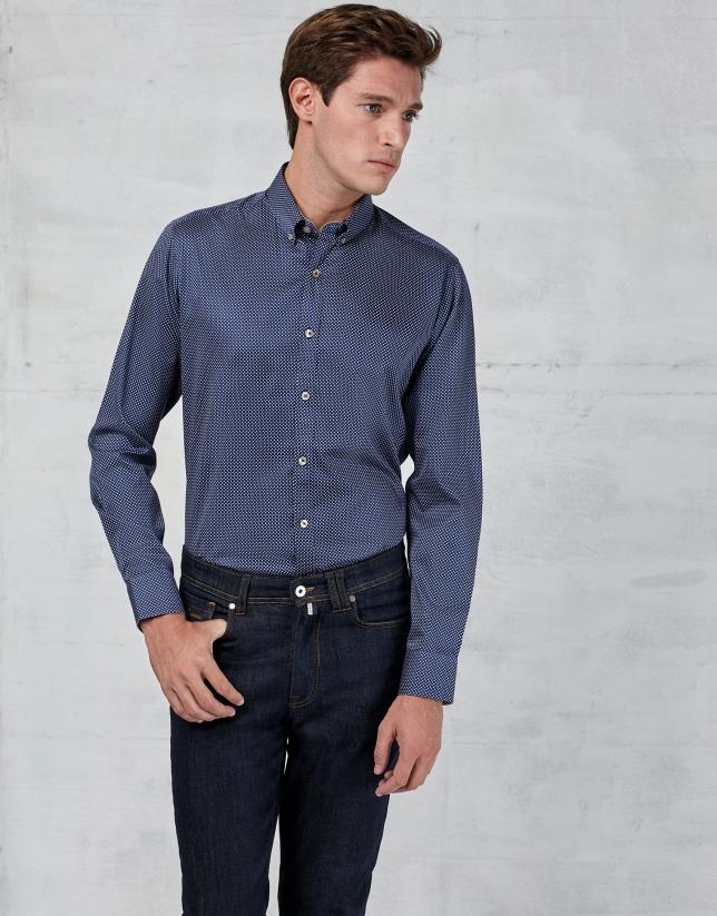 Camisa azul marino con topo fantasía blanco