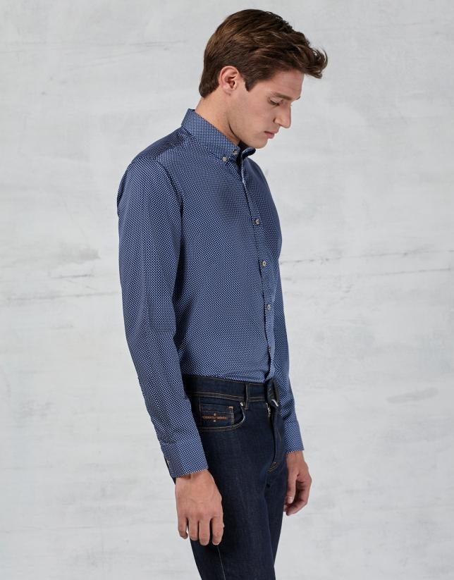 Chemise bleu marine à pois fantaisie blancs