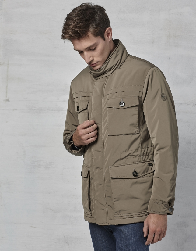 Mink colored, three-quarter jacket with 4 pockets