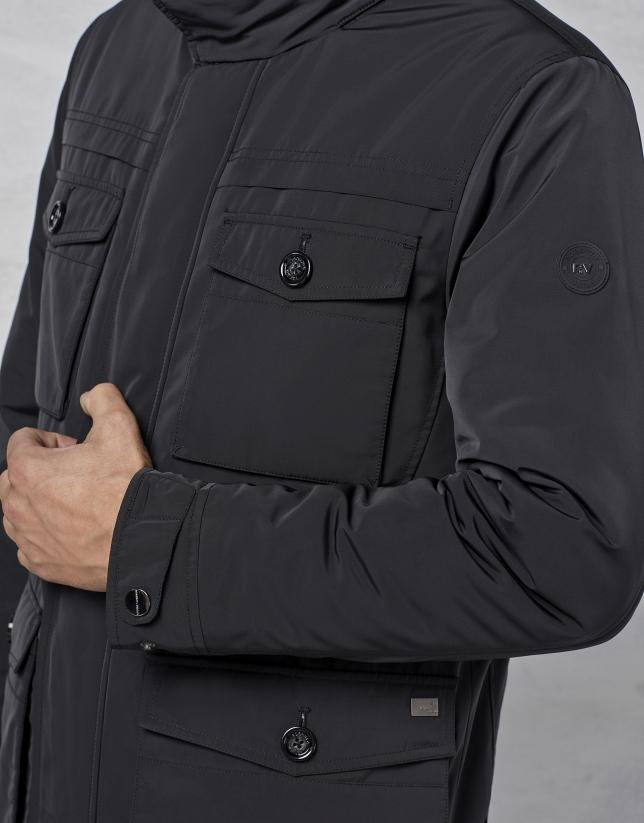 Chaqueton 4 bolsillos color negro