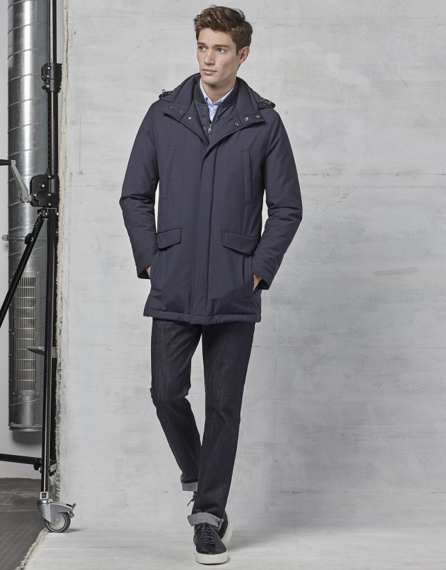 Navy blue, removable vest and parka