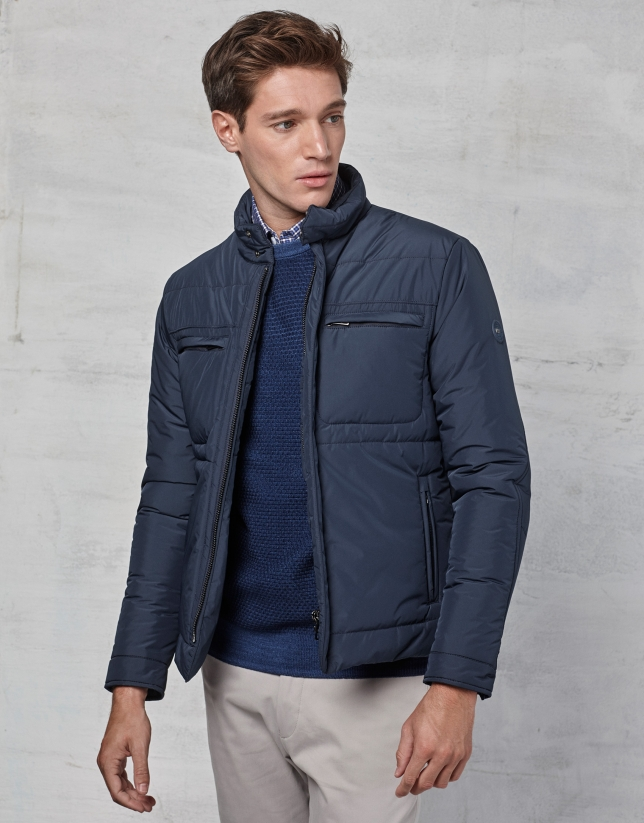 Navy blue windbreaker without hood