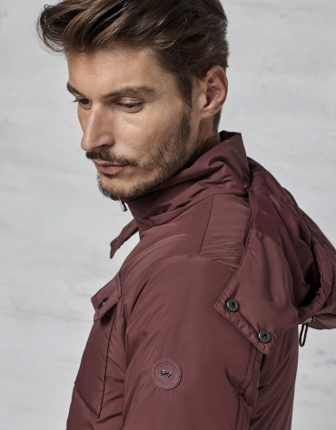 Maroon windbreaker with hood and fur collar