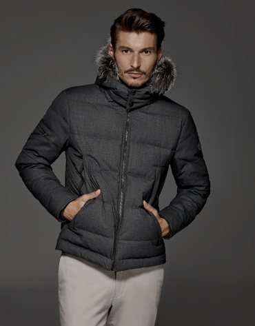 Grey windbreaker with hood and fur collar