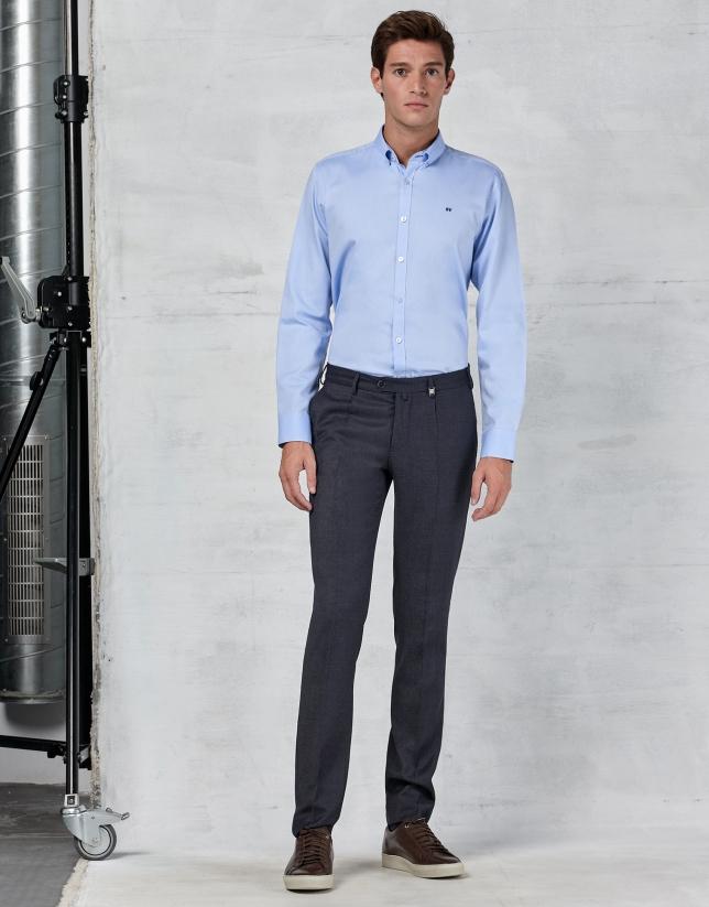 Pantalon de costume à pince bleu marine