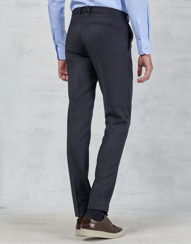 Navy blue dress pants with darting