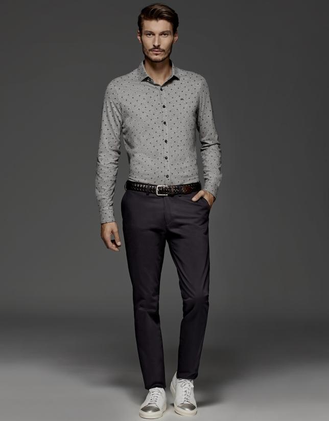 Pantalon chino en coton couleur bleu marine