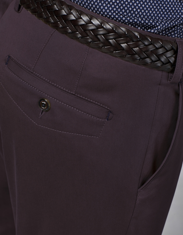Pantalón chino algodón granate