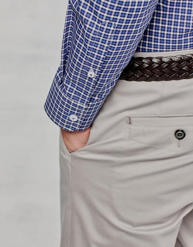 Pantalon chino en coton gris