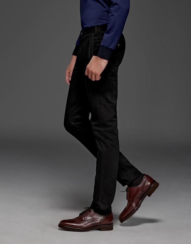 Pantalon chino en coton couleur noir