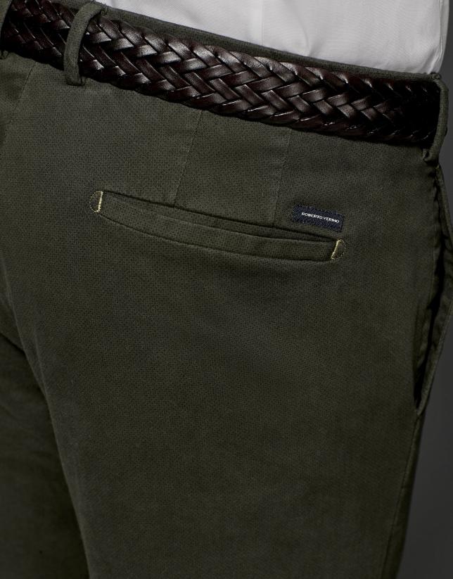 Pantalon chino kaki à micro-motif