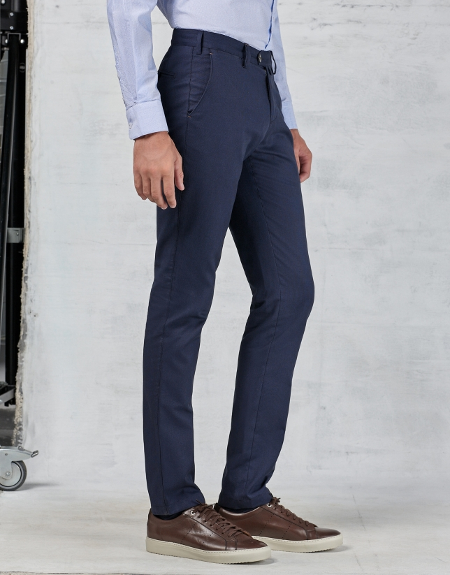 Navy blue bird's eye weave dress pants