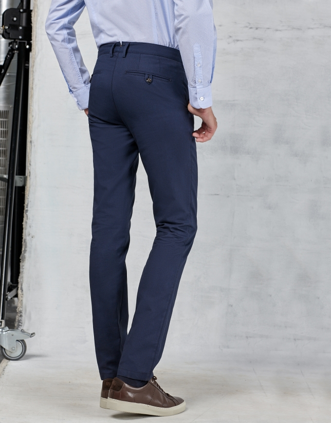 Pantalon de costume à motif œil de perdrix bleu marine