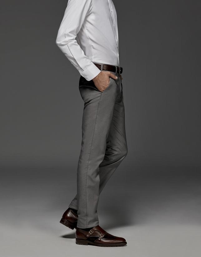 Pantalón de vestir en ojo de perdiz  gris claro