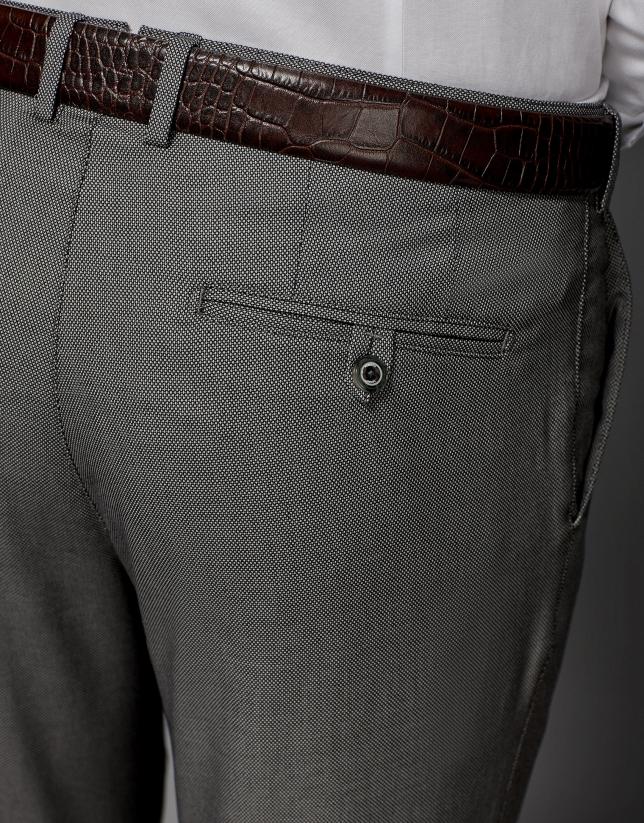 Pantalon de costume à motif œil de perdrix gris clair