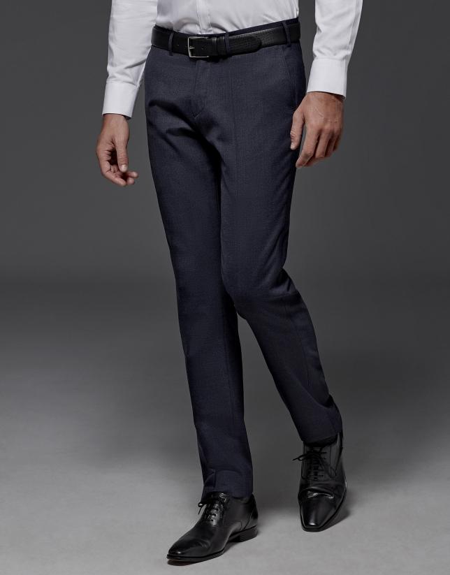 Pantalon de costume laine uni bleu marine