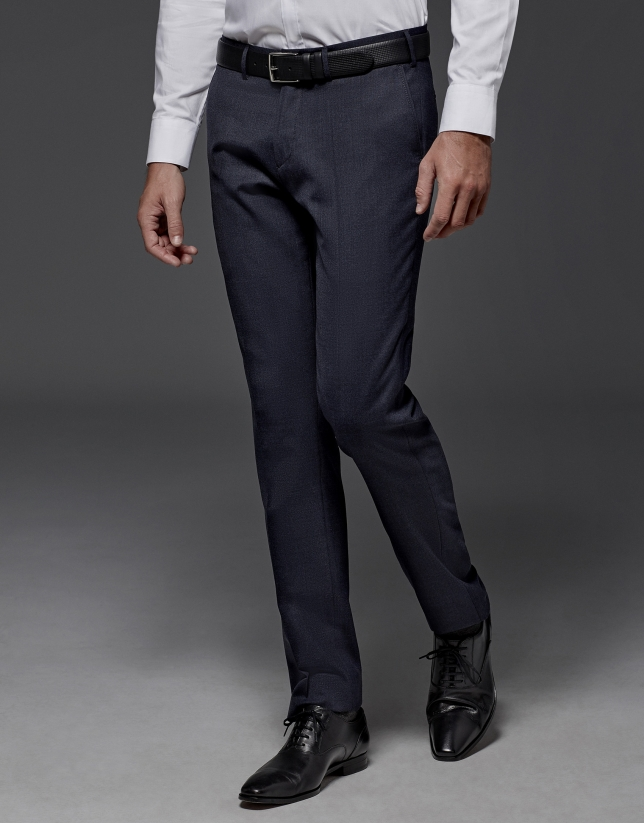 Pantalón De Vestir Liso Azul Marino Hombre Roberto Verino