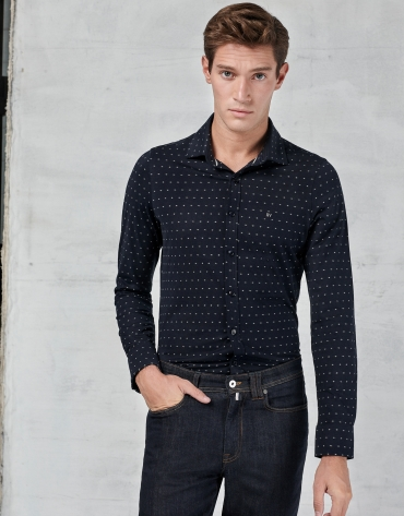 Navy blue  short sleeved polo with white design