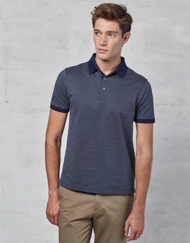 Polo à manches courtes bleu marine avec fantaisie en blanc