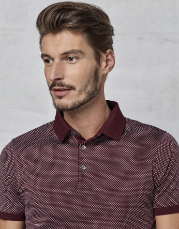 Maroon  short sleeved polo with white design