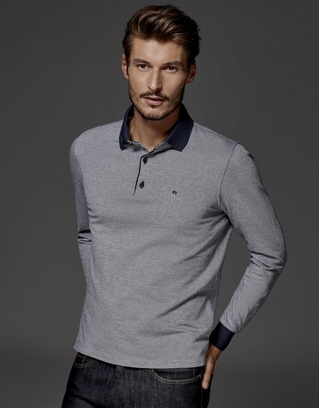 Navy blue long sleeved jacquard polo