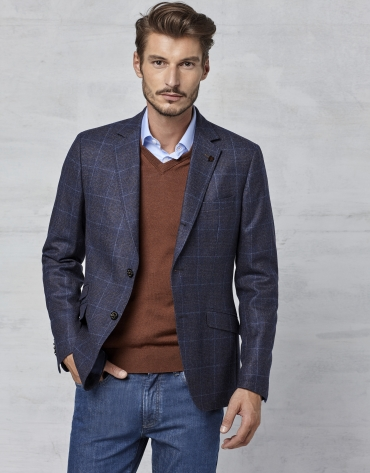 Navy blue checked sports jacket