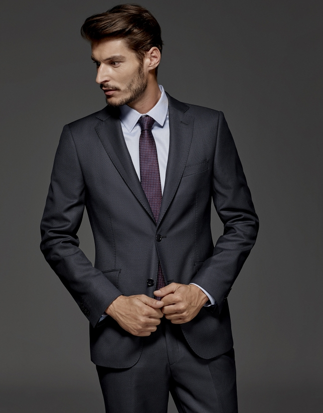 Blue bird's eye weave regular suit