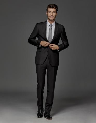 Black fake plain suit