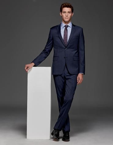 Blue plain slim fit suit