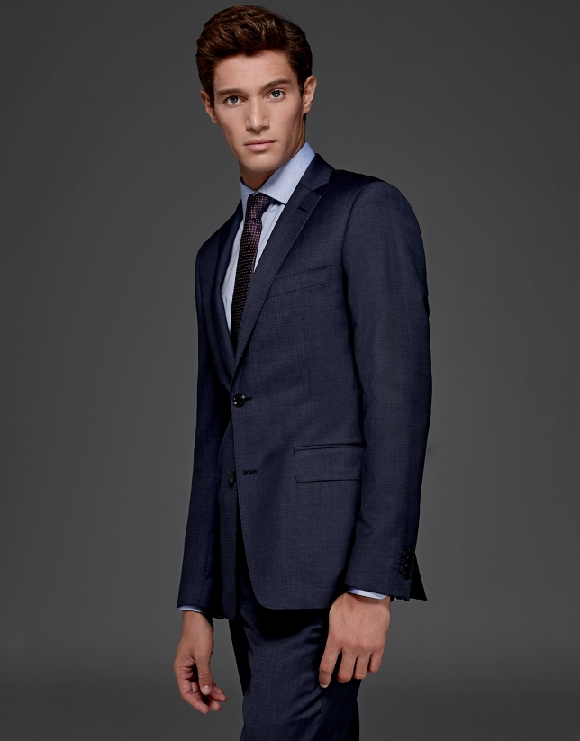 Blue plain slim fit suit