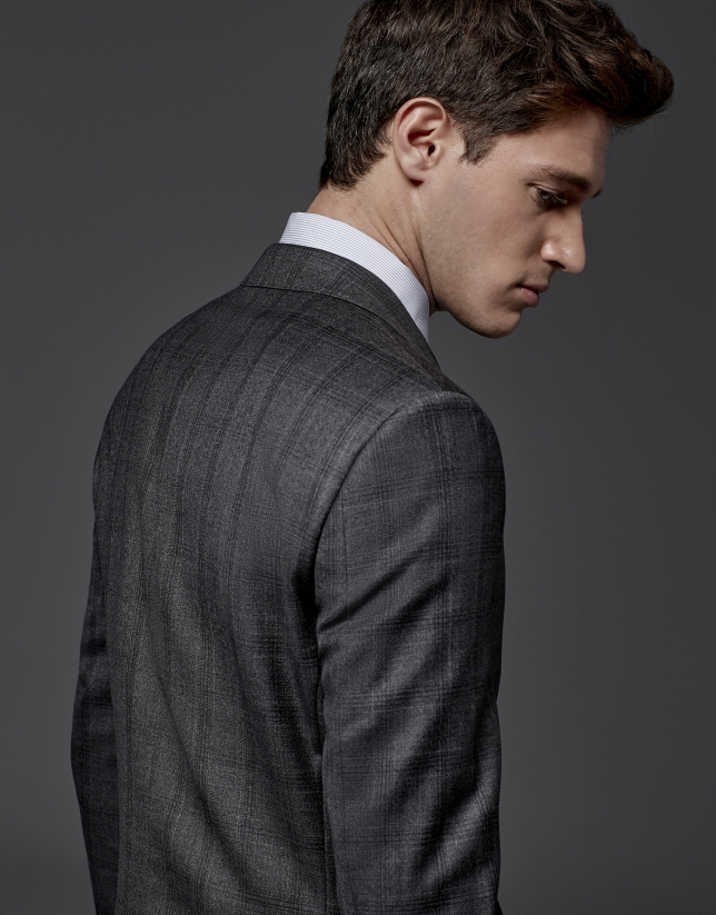 Gray checked slim fit suit