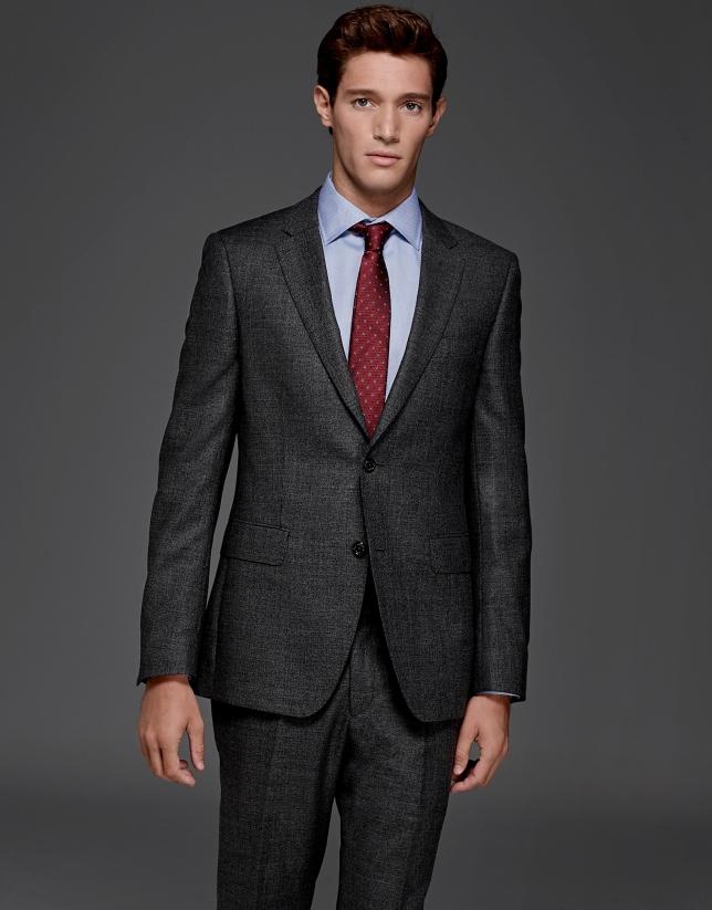 Costume coupe ajustée faux uni gris