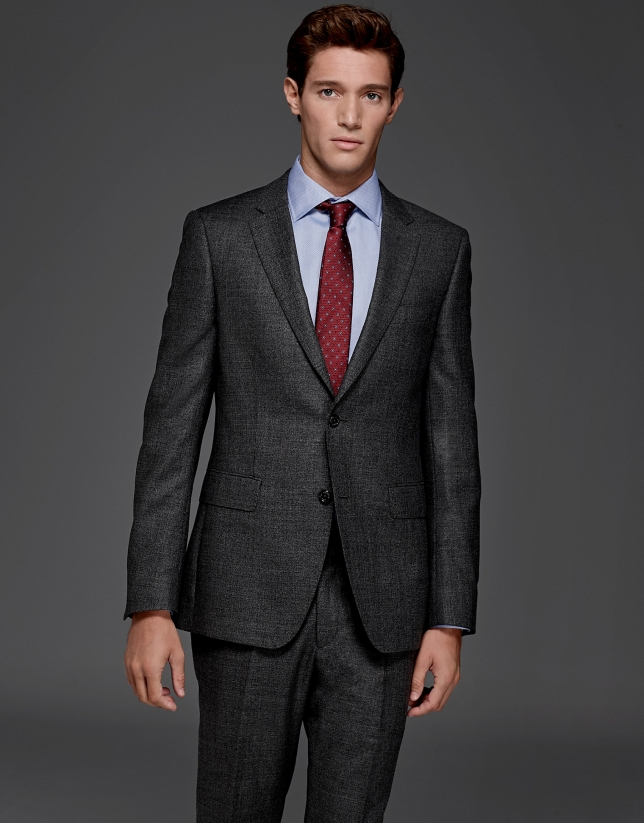 Traje slim fit falso liso gris