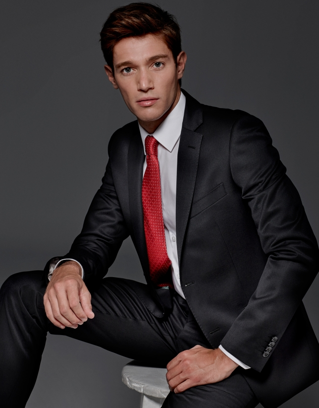 Black wool slim fit suit