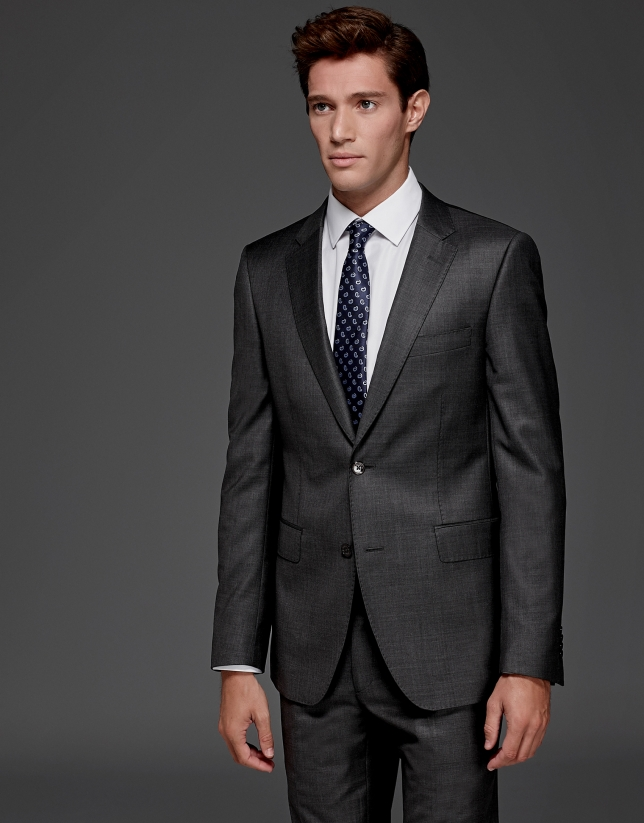 Grey wool slim fit suit