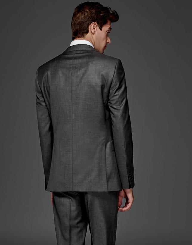 Costume coupe ajustée en laine gris