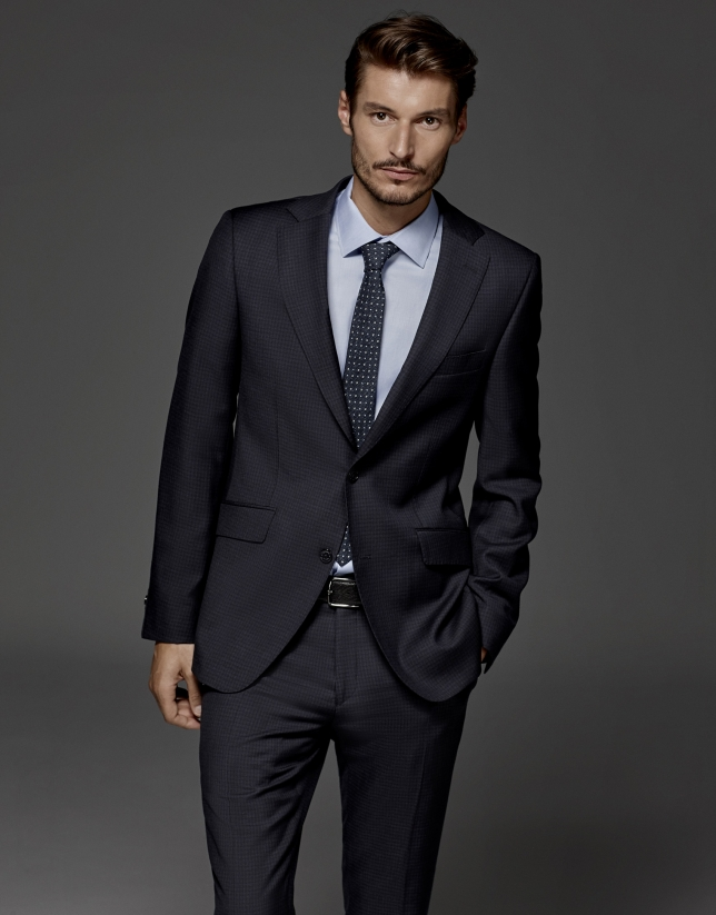 Soft navy blue subtle checked, half canvas regular suit
