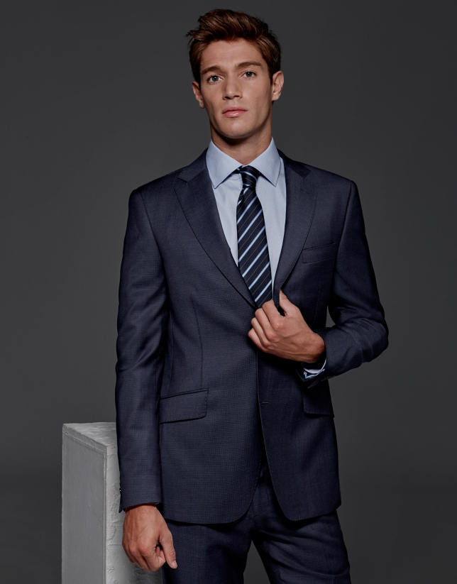 Navy blue regular half canvas suit