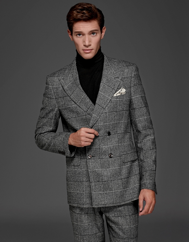 Gray glen plaid double-breasted suit