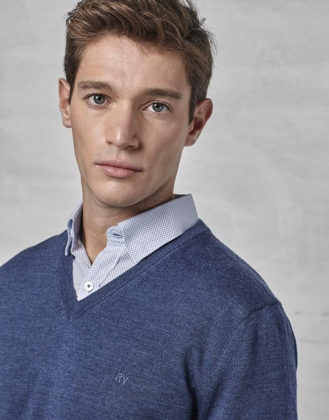 Jersey cuello pico lana azulón