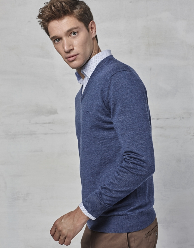 Pull à col V en laine bleu roi