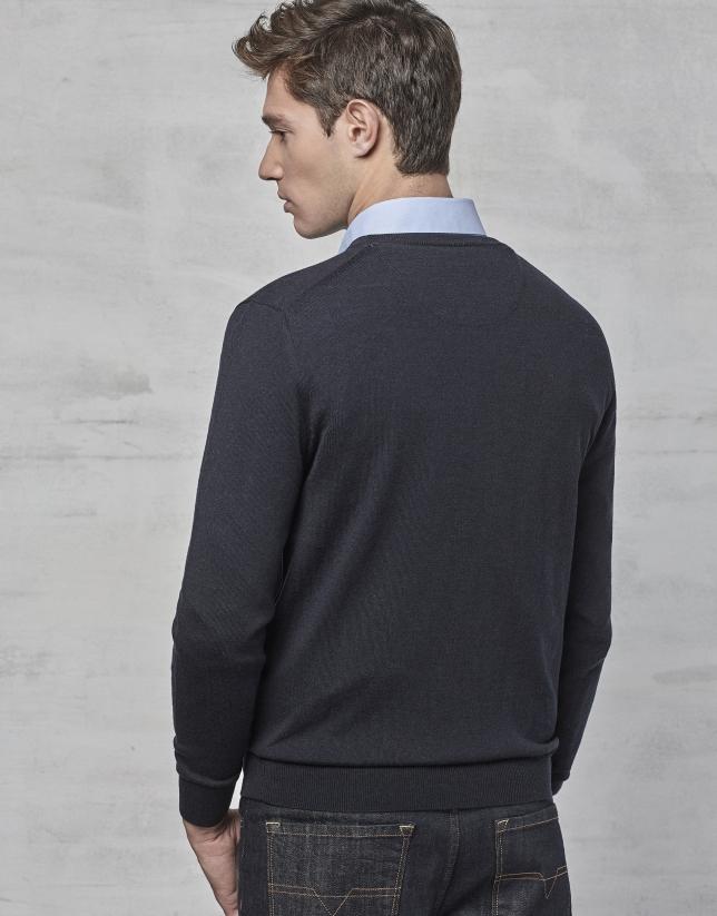 Jersey cuello pico lana marino