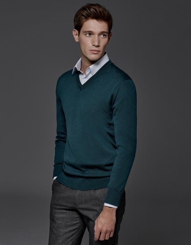 Jersey cuello pico lana verde