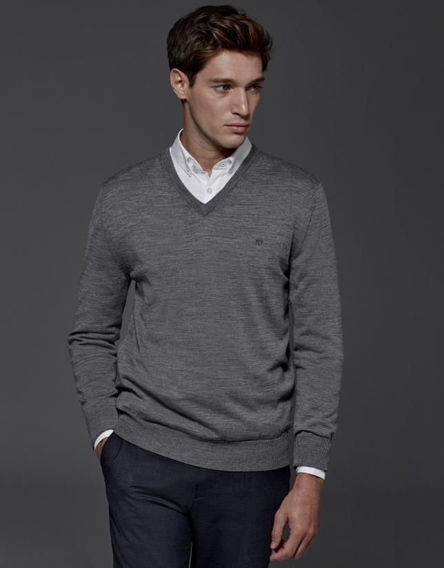 Jersey cuello pico lana gris