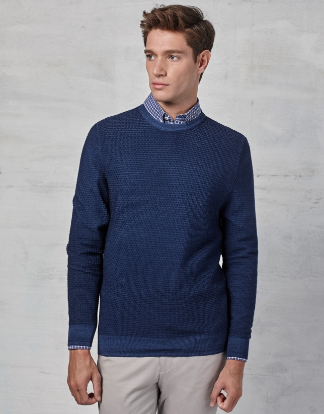 Blue woven sweater with square collar