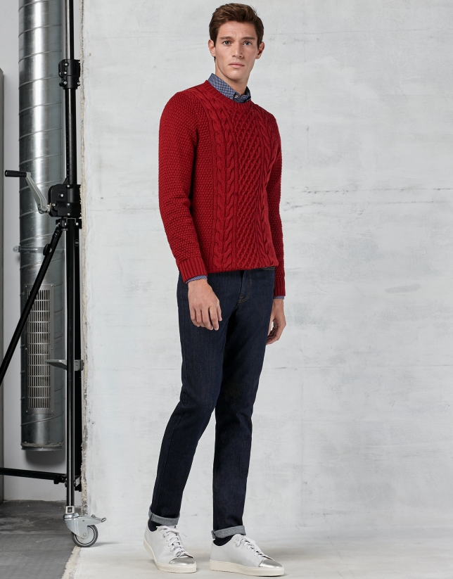 Red braided and cable-stitched sweater