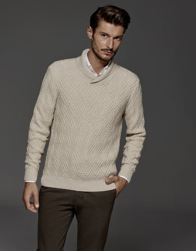 Ivory sweater with tuxedo collar