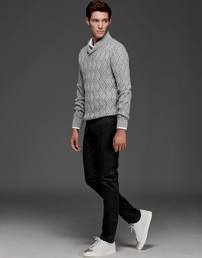 Gray sweater with tuxedo collar