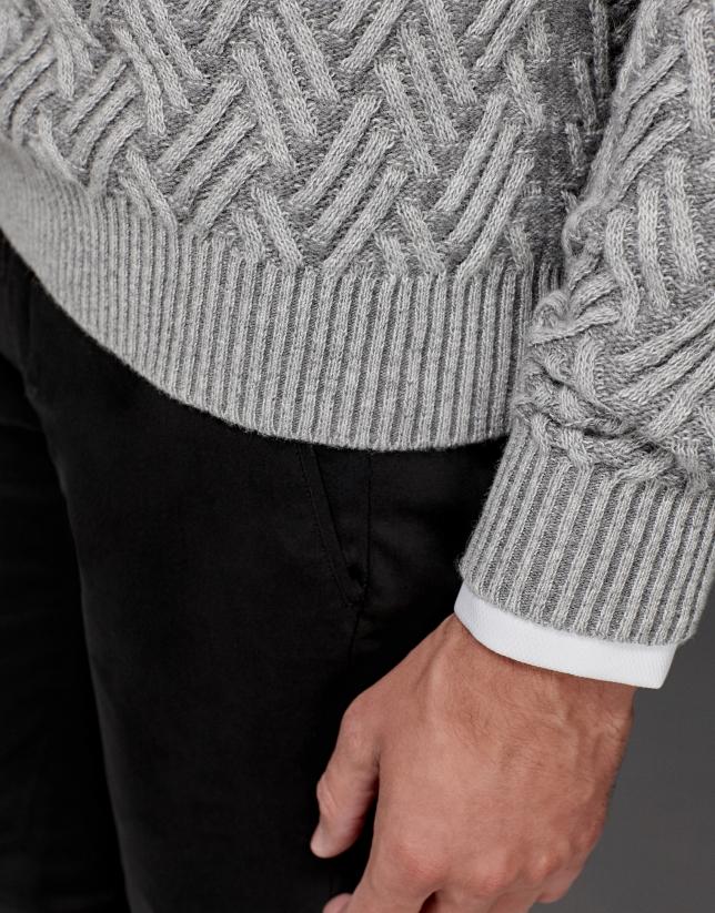 Gray sweater with tuxedo collar